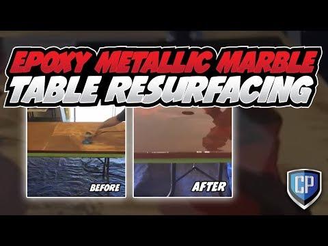 Epoxy Metallic Marble Table Resurfacing