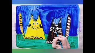Как нарисовать кота.Урок рисования поэтапно.Для детей 4-5-6-7 лет.