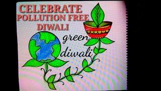 Easy drawing poster for Pollution free Diwali,crackers free green Diwali,ecofriendly Diwali drawing.