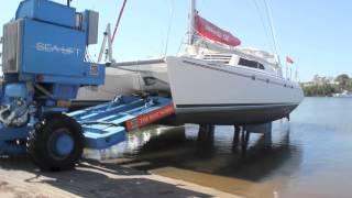 Lifting 47 ft Catamaran at The Boat Works Coomera