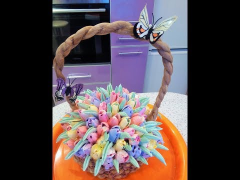 3DТорт-корзина Запахло весной: ПОШАГОВО .Тюьпаны из крема/cake basket step by step