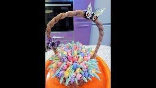 Торт-корзина с цветами ''Запахло весной'': Тюьпаны из крема.Cake - basket with tulips.