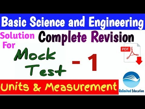 Solution for Mock Test - 1 | Units & Measurement | Basic Science &  Engineering for RRB ALP CBT2