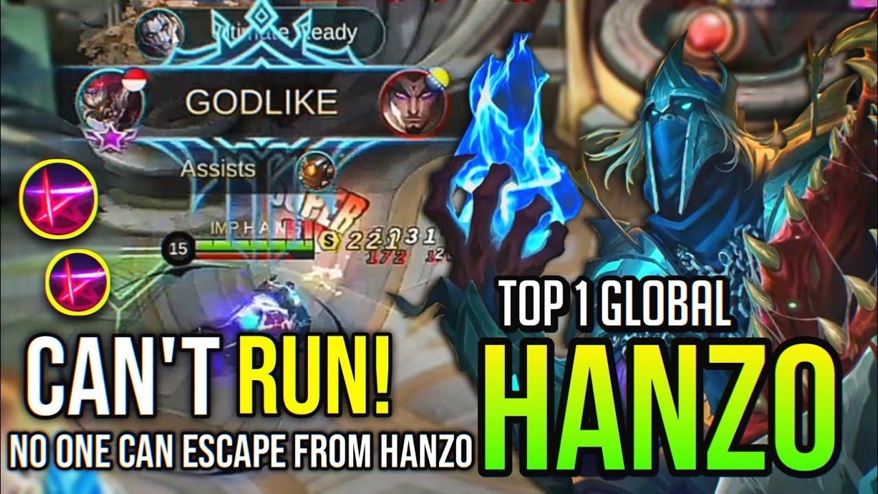 CAN'T RUN! HANZO BEST BUILD 2020   Top 1 Global Hanzo - Mobile Legends