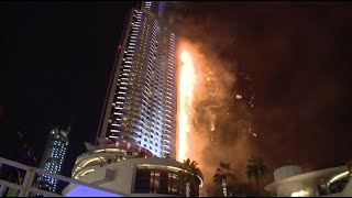 Fire Rages Hotel Close to World's Highest Tower in Dubai