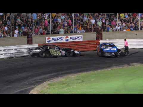 Bowman Gray 7-15-17 Sportsman Tommy Neal waits for and retaliates against Taylor Branch