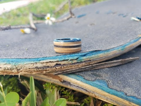 How to Make a Wooden Ring from a Skateboard  Minimal tools