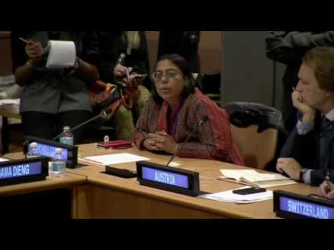 Ruchira Gupta speaking at the United Nations, Oct. 27th, Palermo Protocol