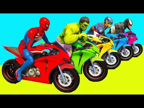 SPIDERMAN and BIKES Challenge over SEA  ! Superheroes MOTOS Race HULK, IRON MAN - GTA V MODS |