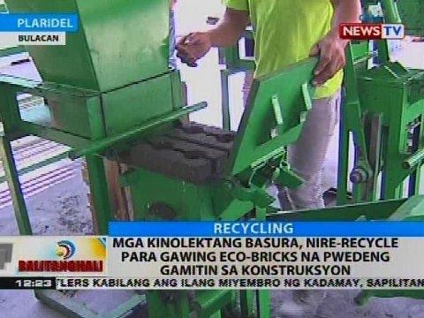 Mga kinolektang basura, nire-recycle para gawing eco-bricks na pwedeng gamitin sa konstruksyon