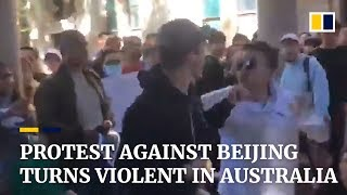 Protest against Beijing turns violent in Australia