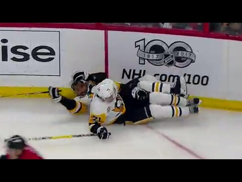 Teammates collide, Malkin and Daley go hard into boards