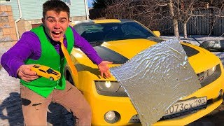 Mr. Joe found Magic Blanket & Toy Car Turned in Chevrolet Camaro & Started Funny Race for Kids