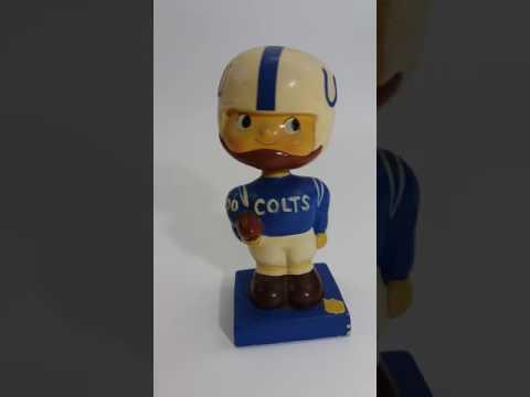 Baltimore Colts Nodder Bobblehead Vintage 1960's NFL #00 Blue Square Base