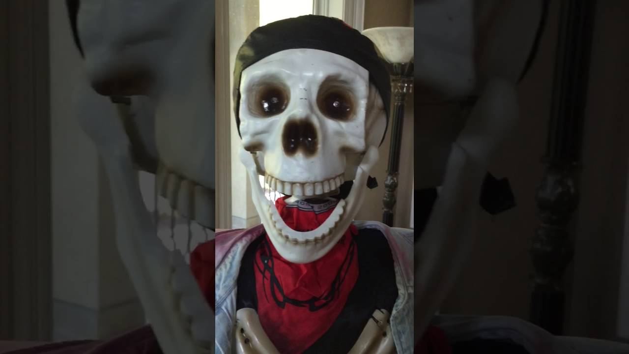 life size animated halloween skeleton biker 5 foot - youtube