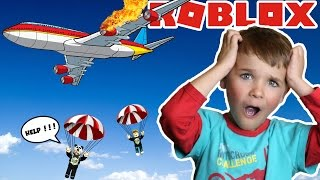 Fallschirmspringen vom absturzabstürzenden Flugzeug in Roblox (Flucht zum Flugzeugabsturz Obby)
