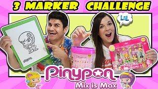 3 marker challenge PINYPON MIX IS MAX FAMOSA LOL Retos Divertidos