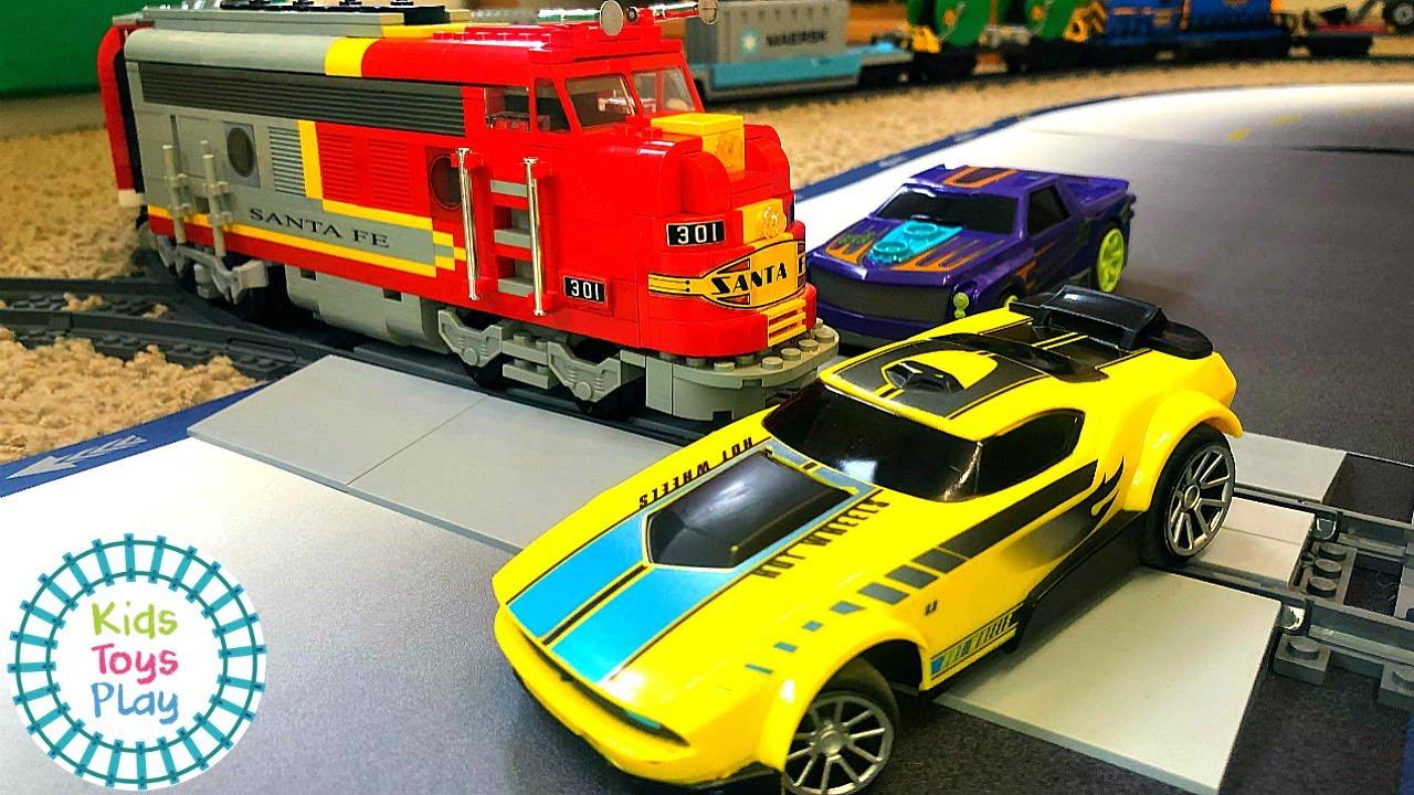 LEGO Train Crashes Into Hot Wheels A.I. Race Cars