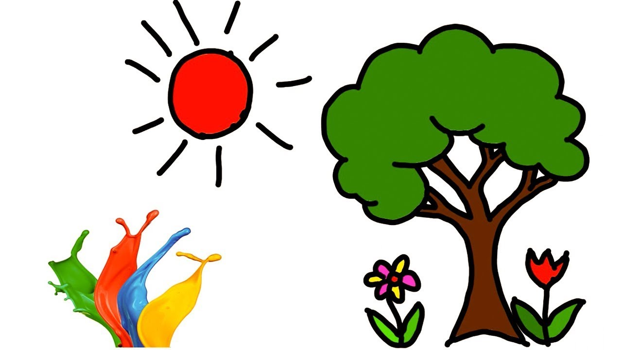 Sun Tree Flower Tree Drawing Learning Coloring for Kids How to Easily Step  by Step || Little Channel