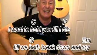 Sometimes When We Touch - Dan Hill cover - easy chords guitar lesson - on-screen chords and lyrics