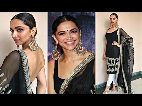 bdfe7a65230e8 Deepika Padukone Hot In Black Long Sabyasachi Kurta At Padmavati 3d Trailer  Launch