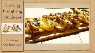 Cedar Plank Grilled Parmesan Herbed Potatoes  Wood Plank Grilling  Cooking Outdoors
