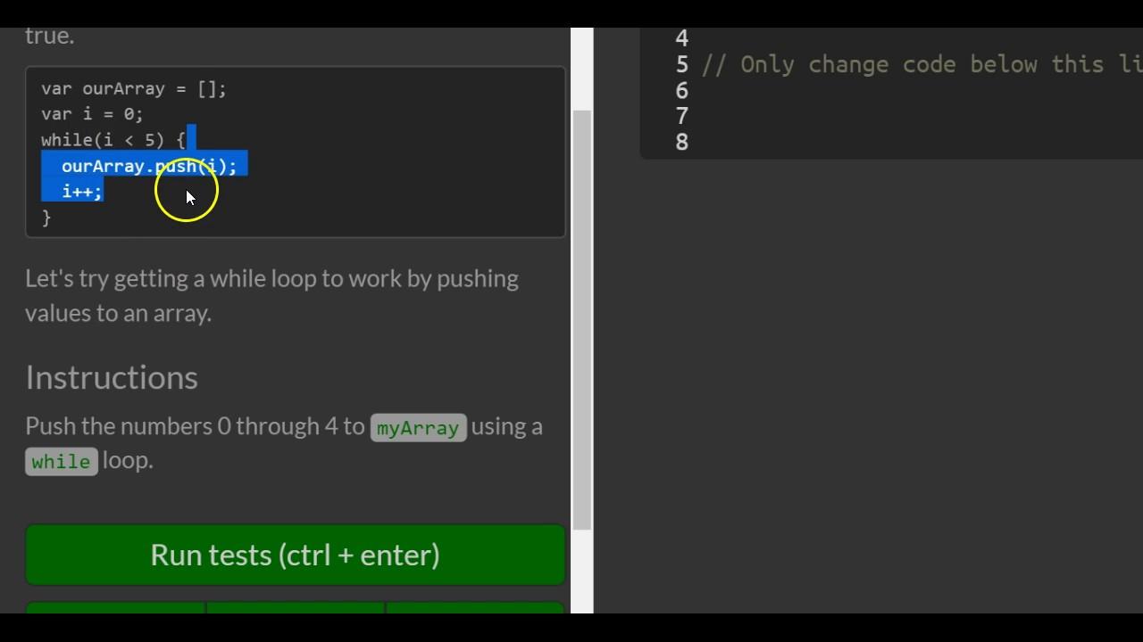 Iterate with Javascript While Loop, freeCodeCamp Basic Javascript