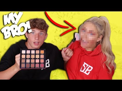 MY 15 YEAR OLD BROTHER DOES MY MAKEUP!! *HILARIOUS* 😳😂