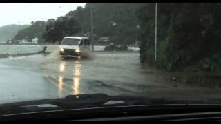 Eastbourne Bays road morning after mega Wellington storm 20-21 June 2013