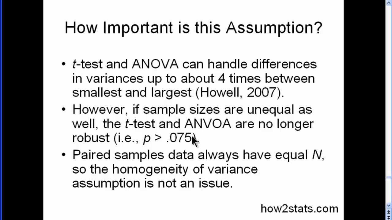 Homogeneity Of Variance Part 3 Youtube