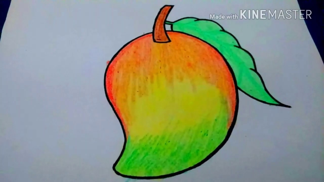 How to draw colorful mango step by step for kids||Easy ...