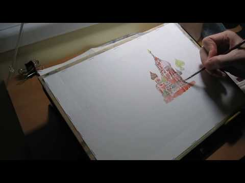 Saint Basil's Cathedral & Kremlin - October Daily Watercolor Sketch Challenge #20 (part 1 of 2)
