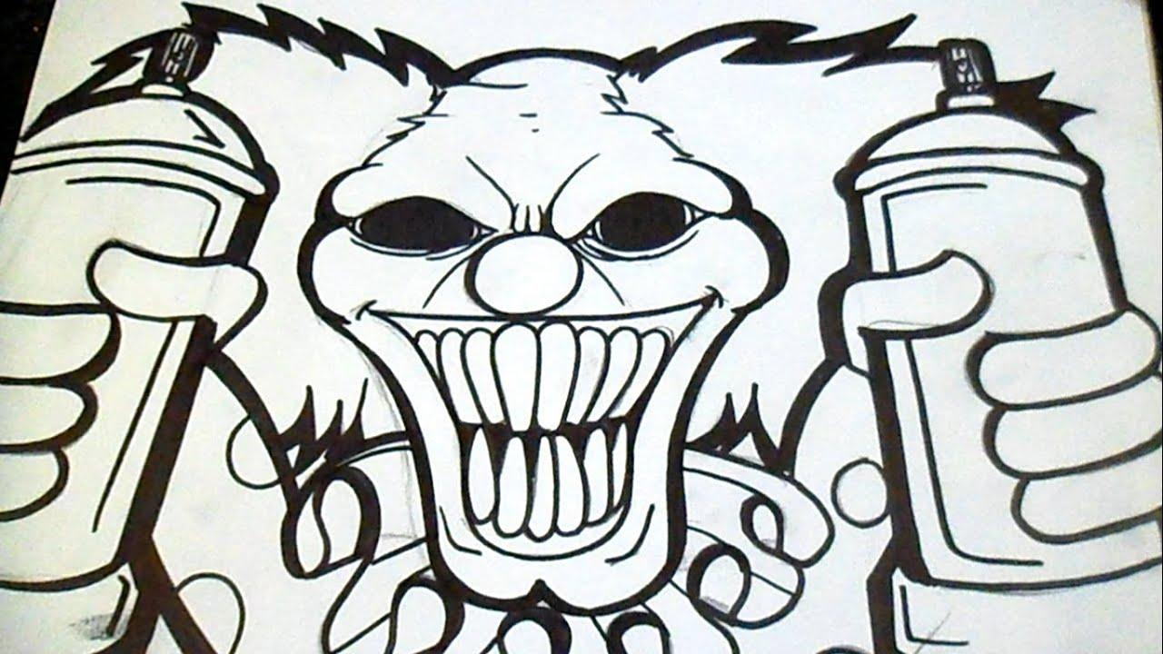 Dessin Clown Avec Aerosol Graffiti Youtube