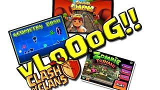 VLOG - Subway Surfers, Clash of Clans, Zumbi Tsunami e Geometry Dash!