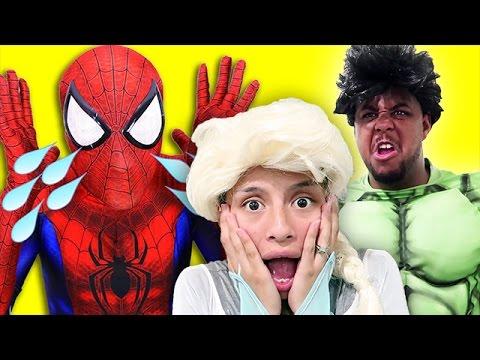 Frozen Elsa & Spiderman FIND NEW LOVE! w/ Joker Pink Spidergirl Baby Car Police Belle Superheroes