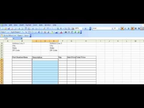 Example Purchase Order Template Created In Excel Youtube