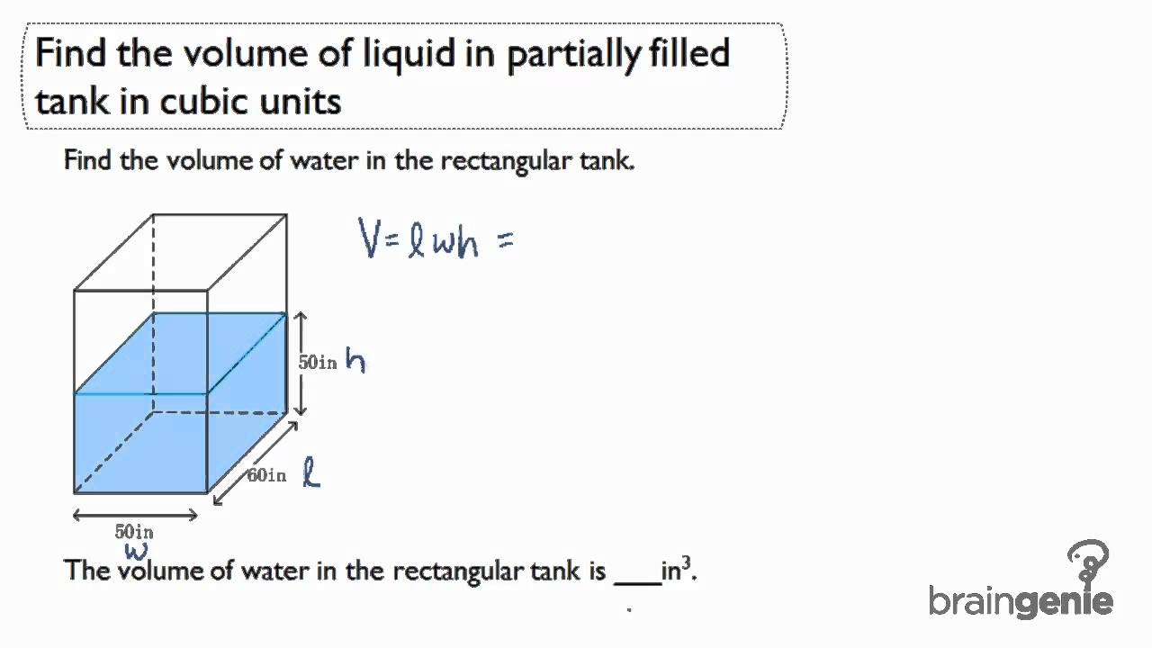 514 Find The Volume Of Liquid In Partially Filled Tanks In Cubic Units