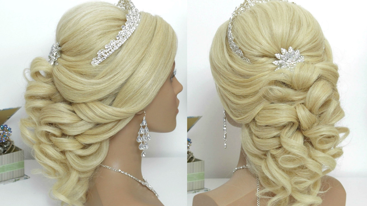 Curly Prom Bridal Hairstyle For Long Hair Tutorial.
