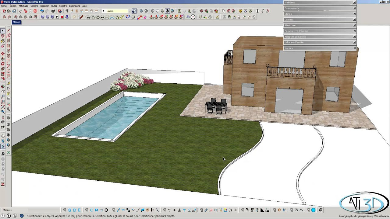 Sketchup pro et outils ati 3d youtube for Outil miroir sketchup
