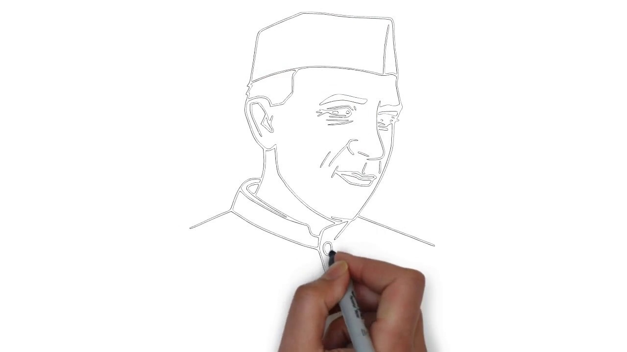 Learn how to draw chacha nehru sketch of chacha nehru kids drawing competition