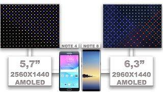 Samsung Galaxy Note 8 VS Samsung Galaxy Note 4 display quality