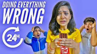 DOING EVERYTHING WRONG FOR 24 HOURS | Rimorav Vlogs