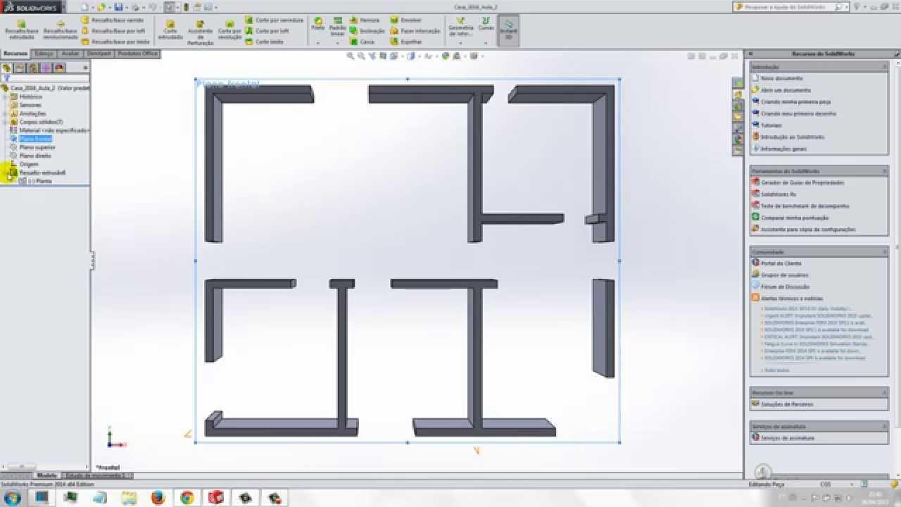 Aula 13 4 SolidWorks Praticando Desenho Piso casa house - YouTube