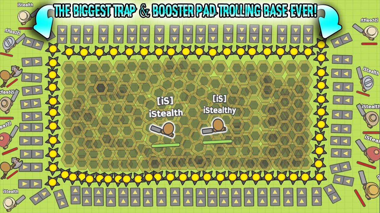 Moomoo Io The Biggest Trap Booster Pad Trolling Base Ever Sandbox Mode Moomoo Io Youtube