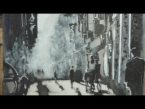 you'll see how to use only chinese ink for a monochrome cityscape