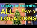 """ALL 9 DANCE """"CHRISTMAS TREE LOCATIONS"""" 14 days of Fortnite Challenges Day 9 and REWARD!"""