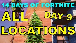 "ALL 9 DANCE ""CHRISTMAS TREE LOCATIONS"" 14 days of Fortnite Challenges Day 9 and REWARD!"