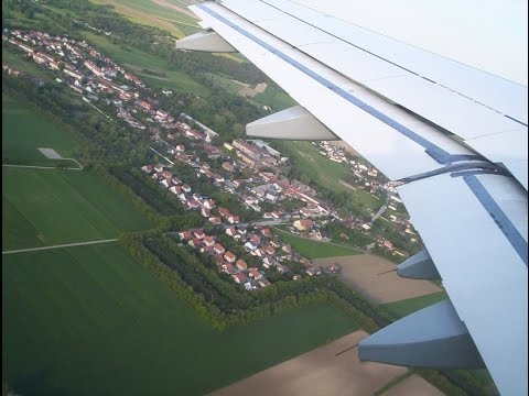 Airbus A321 Landing in Vienna International Airport with view of the whole city Vienna