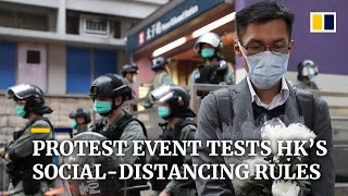 Hong Kong police put social-distancing rules to test at protesters' monthly gathering