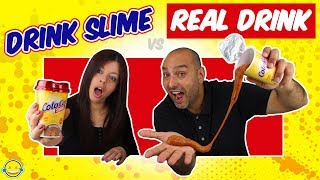 DRINK SLIME vs REAL DRINK 3! Bebida de Slime vs Bebida Real! Bego y Jordi! Momentos Divertidos